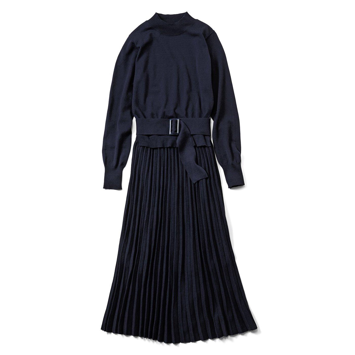IEDIT[イディット] 上品プリーツニットドレス〈ネイビー〉