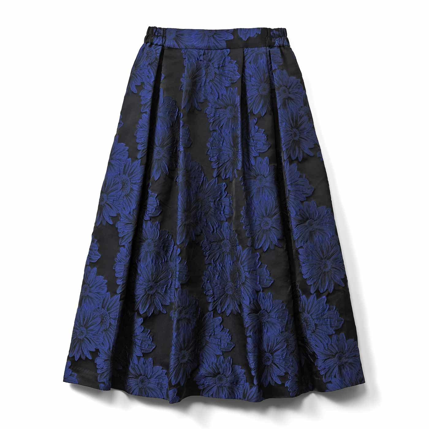 IEDIT[イディット] あったかインナーパンツ付き 華やぎジャカードスカート〈ブルー〉