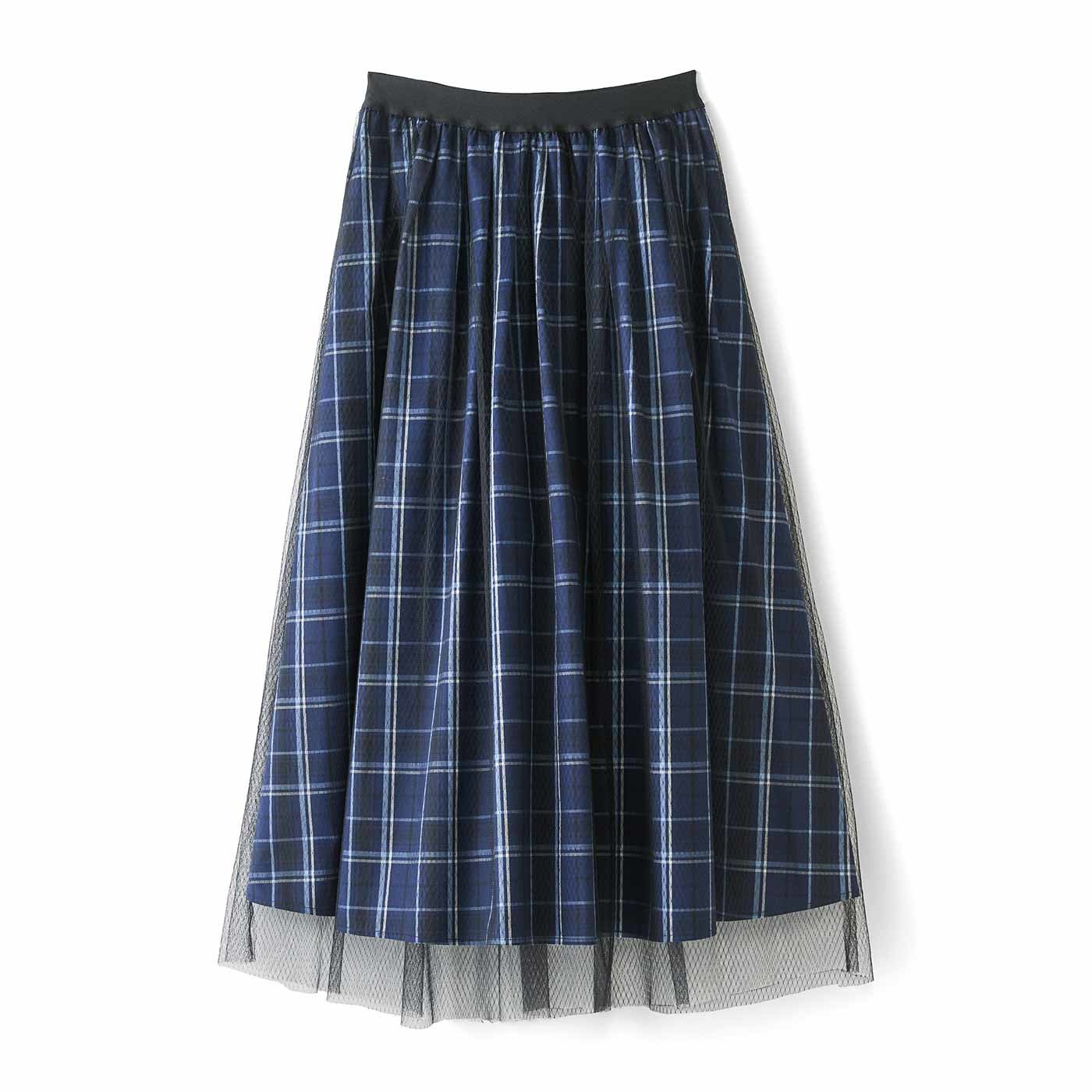 IEDIT[イディット] チュールレイヤードのチェック柄ロングスカート〈ネイビー〉