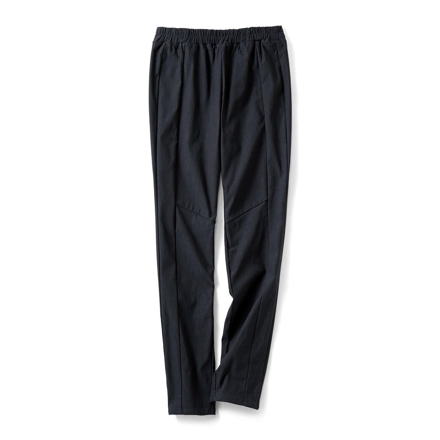 IEDIT[イディット] 伸びやかな着心地なのにきれい見え 裏起毛布はく素材のスタイルアップレギンスパンツ〈ブラック〉