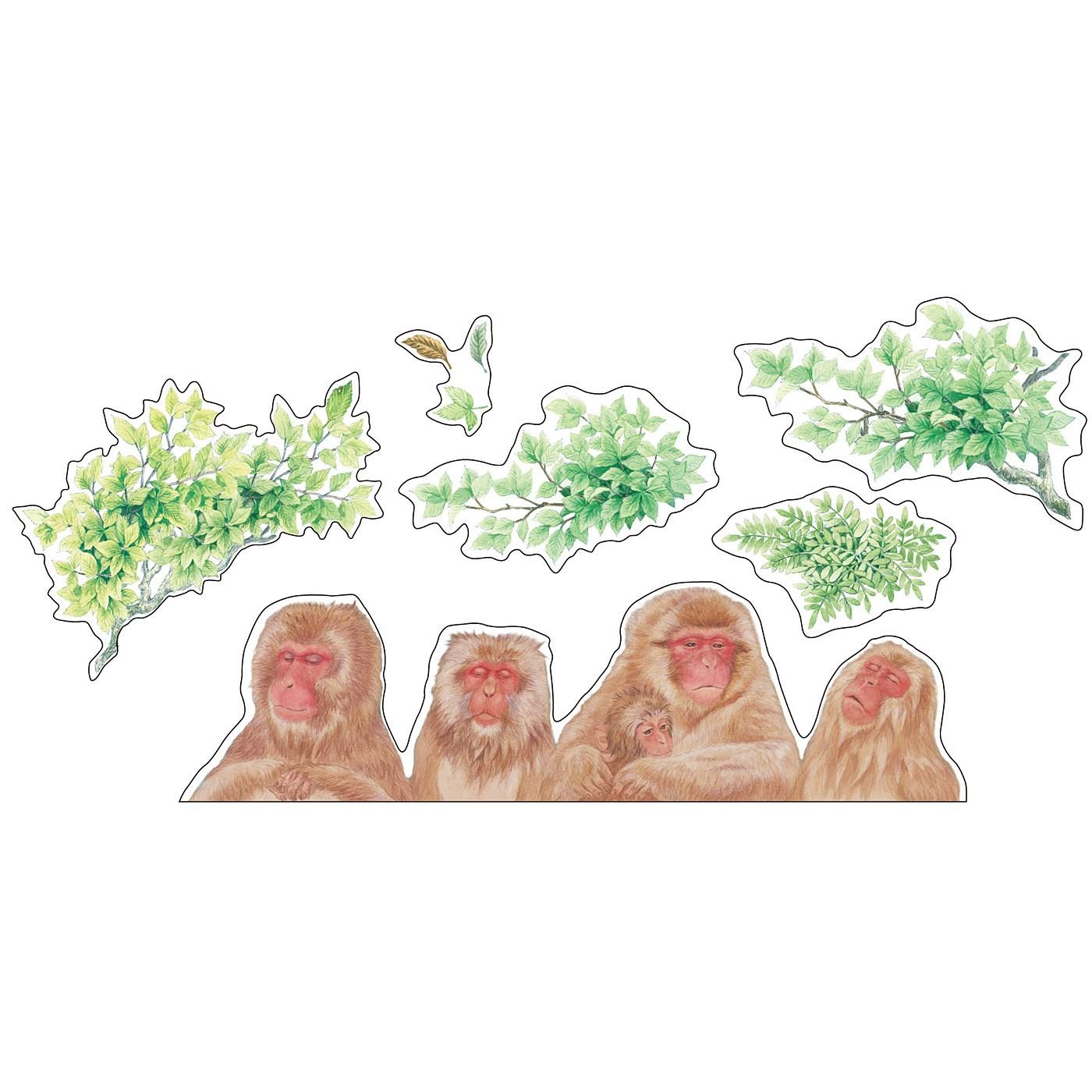 ニホンザルと露天風呂気分を盛り上げる木のシールを6枚セットでお届け。