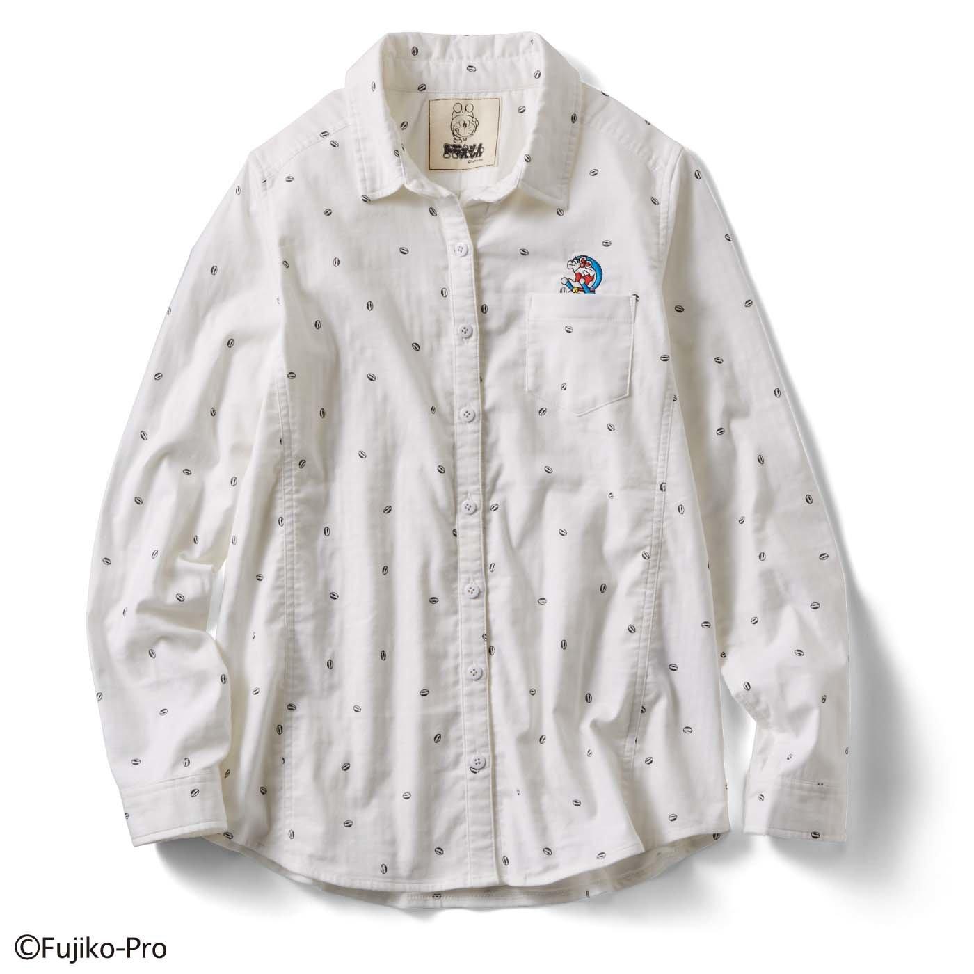 ドラえもん 大人もキュンとする 着心地抜群!レディース伸びシャツ 〈ホワイト〉