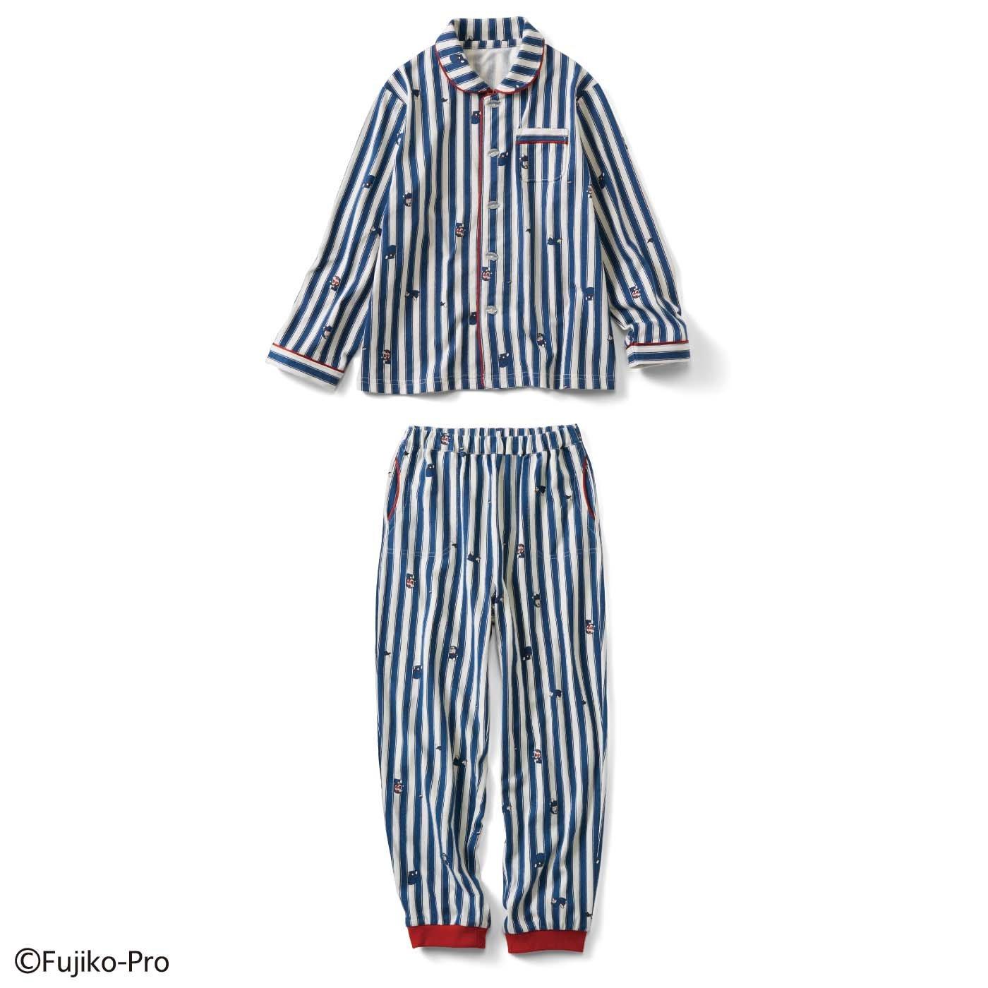 ドラえもん コットンが素肌に気持ちいい ストライプキッズパジャマ〈ブルー×ホワイト〉