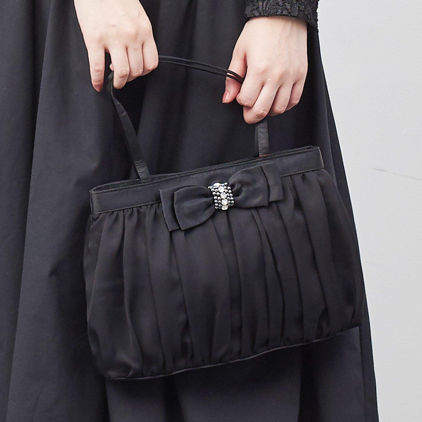 IEDIT[イディット] SELECT サテンとシフォンのリボン付きバッグ