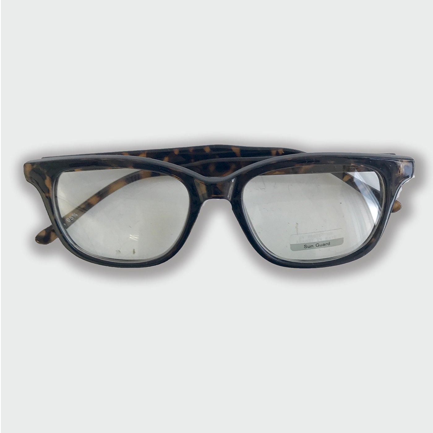 IEDIT[イディット] SELECT べっこう調フレームのクリアファッション用グラス〈デミ〉