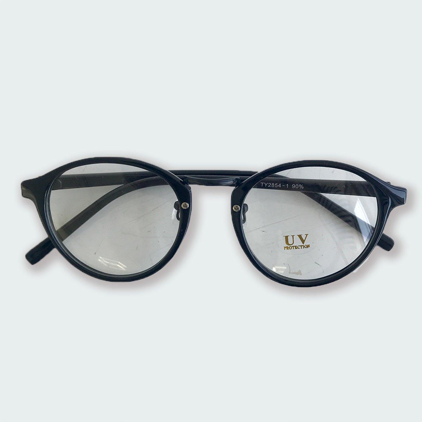 IEDIT[イディット] SELECT ラウンドフレームファッション用グラス〈ブラック×クリア〉