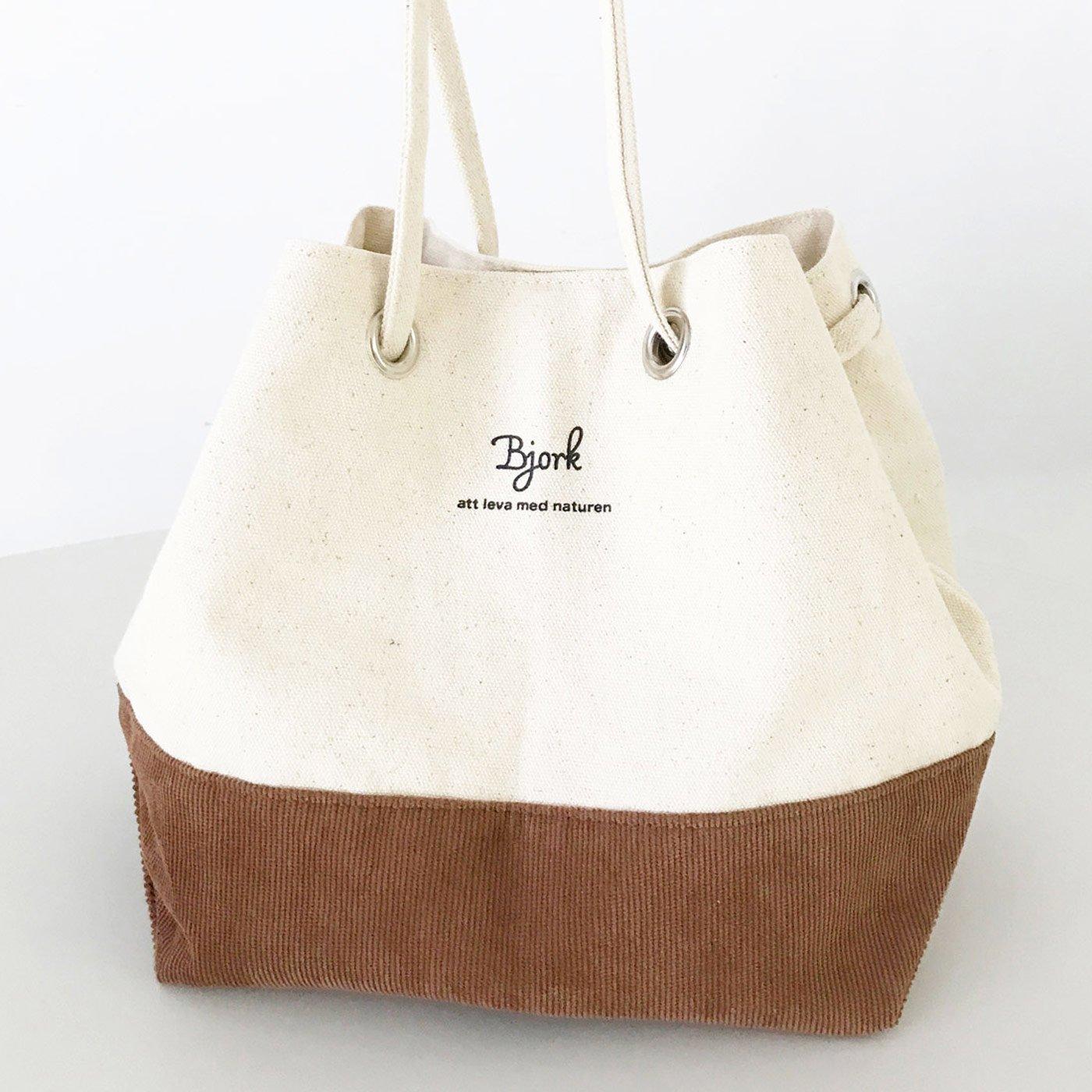 IEDIT[イディット] SELECT 帆布×コーデュロイの巾着バッグ