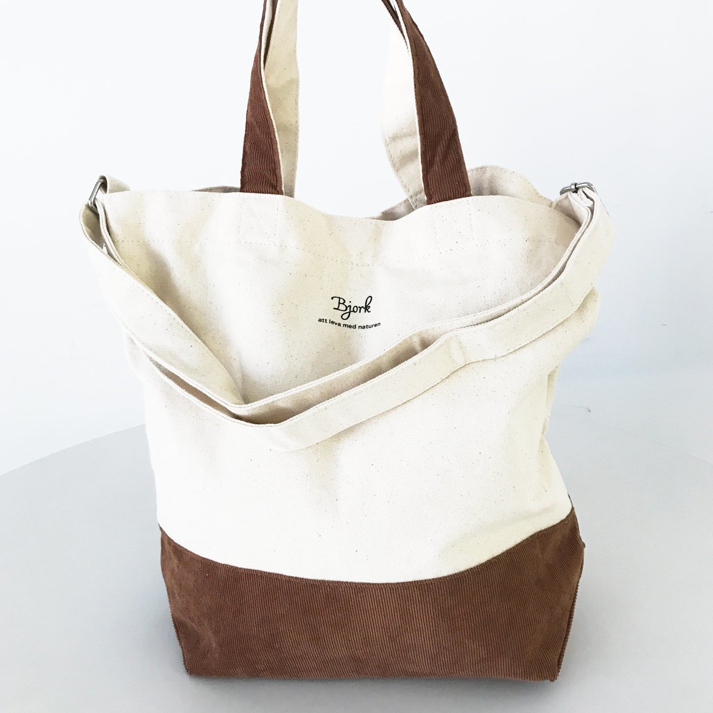 IEDIT[イディット] SELECT 帆布×コーデュロイの2-WAYトートバッグ