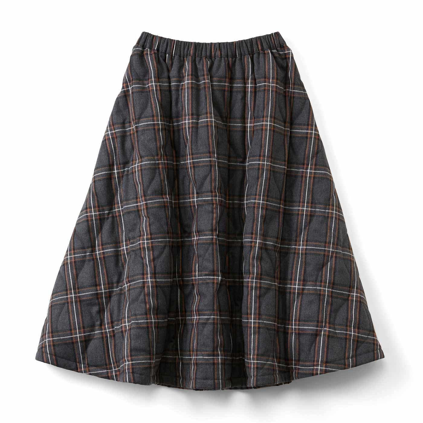【3~10日でお届け】キルティングボリュームスカート〈チェック〉