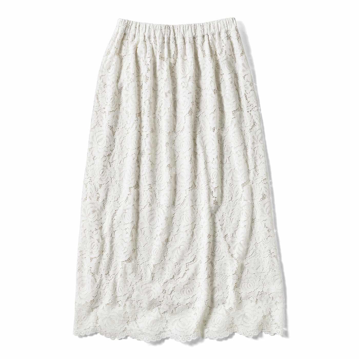【3~10日でお届け】レースが美しい タイトめスカート〈オフホワイト〉