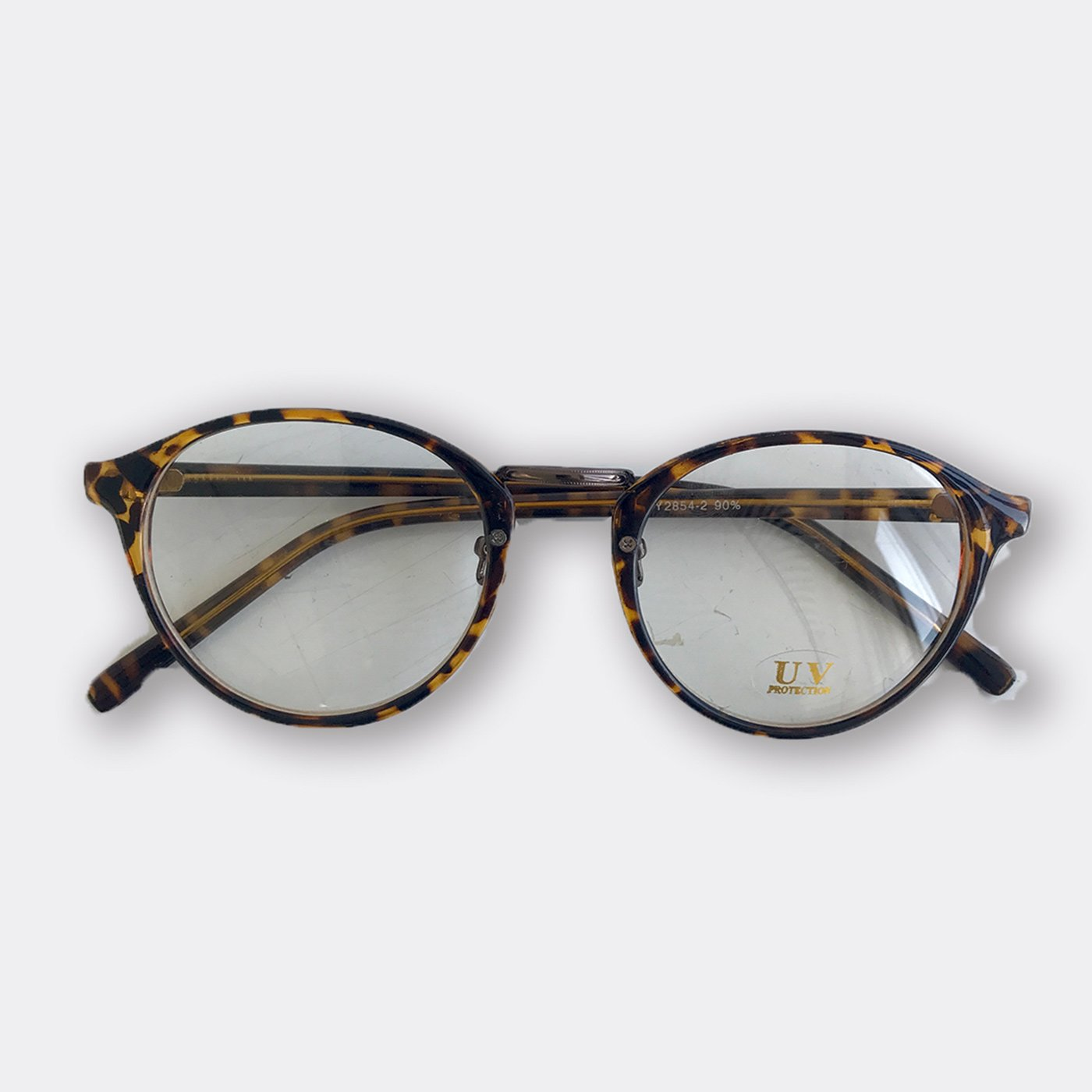 IEDIT[イディット] SELECT ラウンドフレームファッション用グラス〈デミ×クリア〉82320