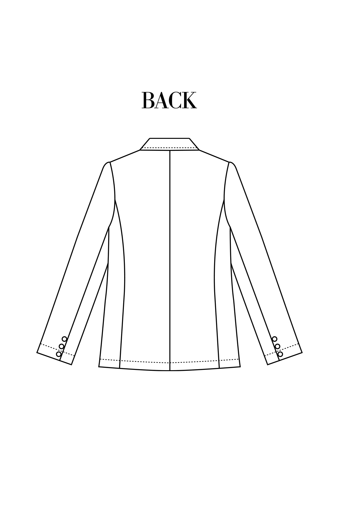 からだのラインにほどよく沿い、背中が浮かず着られる立体パターン設計。