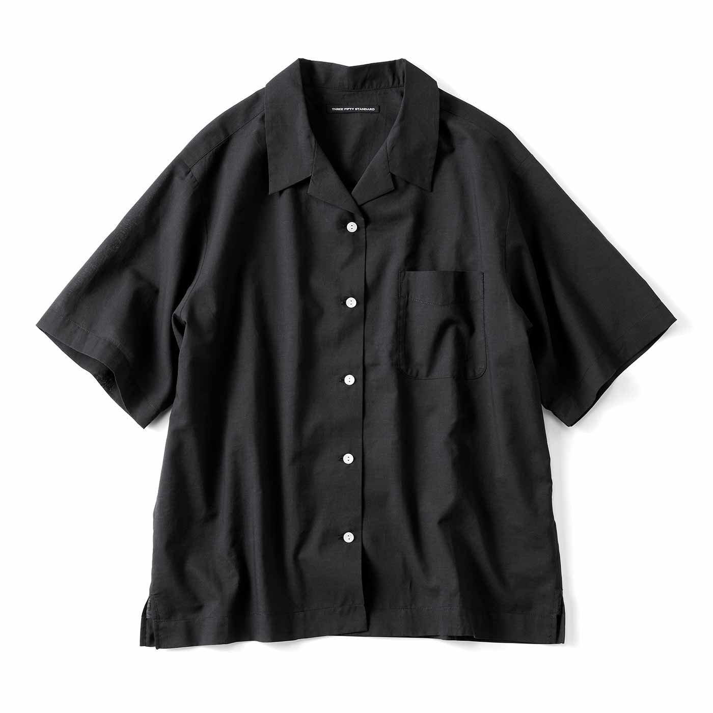 THREE FIFTY STANDARD さらっとシルク混の開衿シャツ〈ブラック〉
