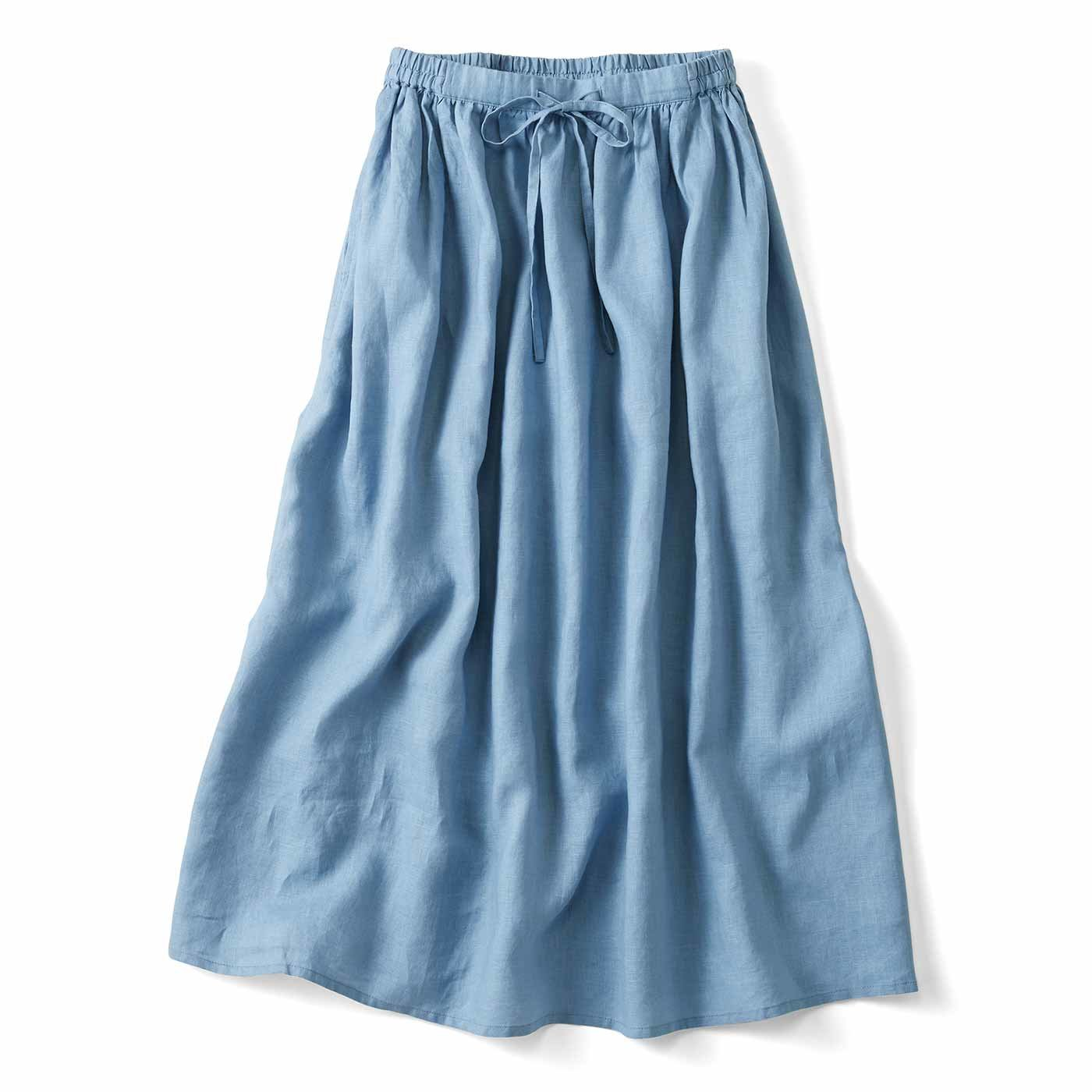 THREE FIFTY STANDARD 麻100%のたっぷりギャザーロングスカート〈ブルー〉