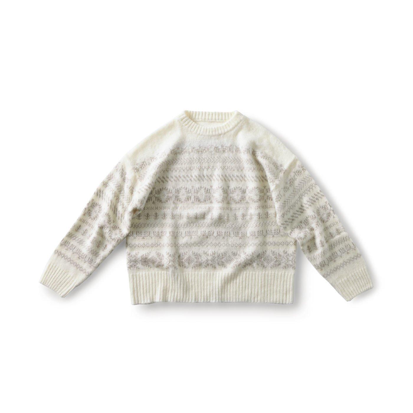 and myera 編み模様のニットセーター〈ホワイト〉