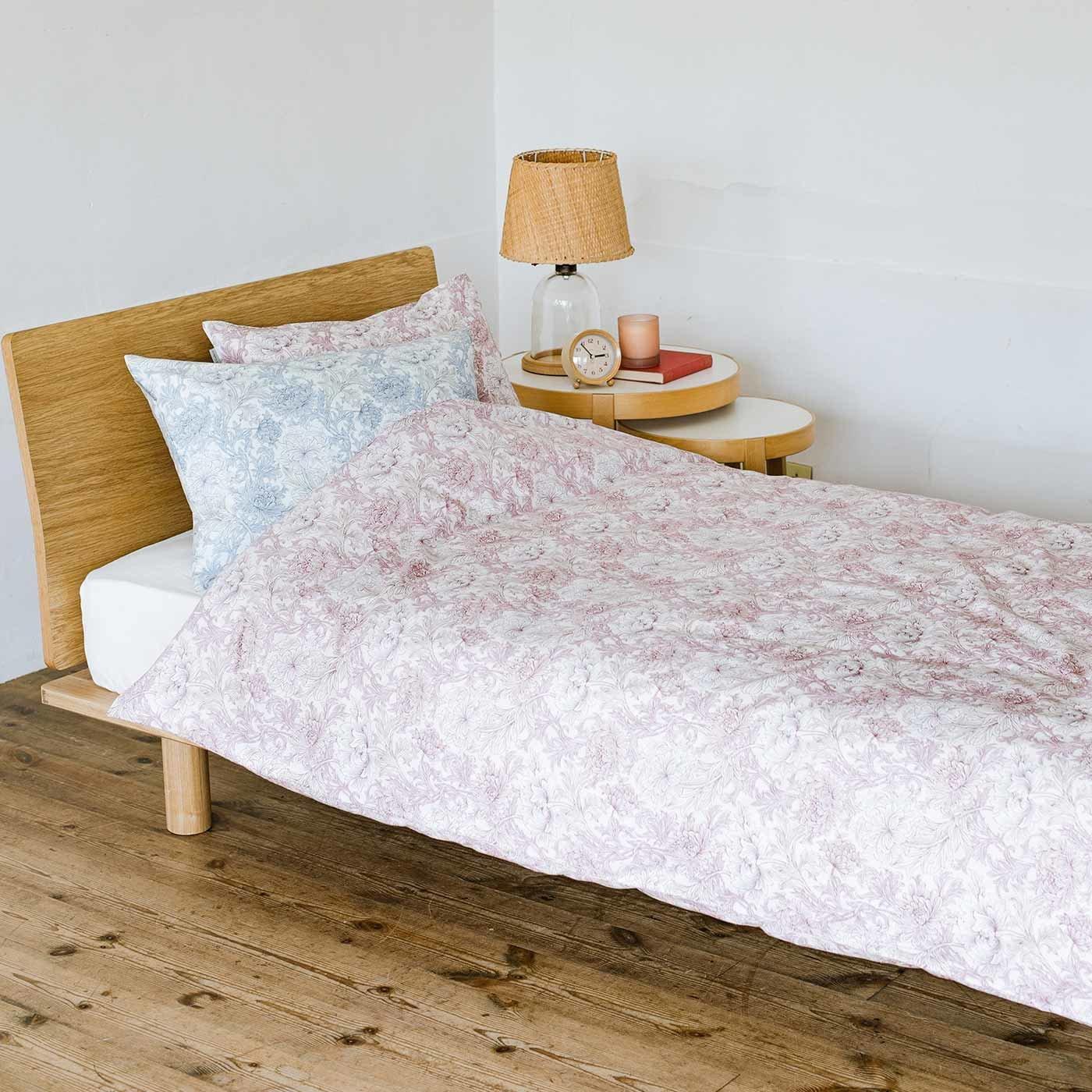 ピュアモリス 優美な花に包まれて眠る 綿100%掛けふとんカバー ピュアクリサンセマムトワル〈シングル〉