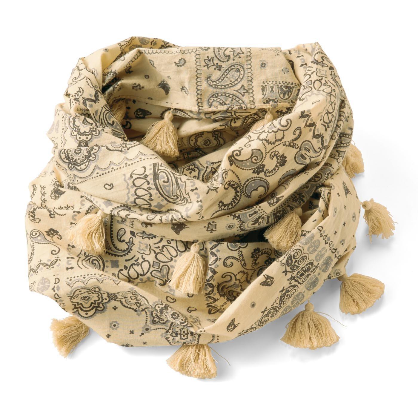 リブ イン コンフォート 猫部×リブインバンダナ柄にこっそり猫が大人オシャレな コットン100%のコンフォートスヌード〈ベージュ〉