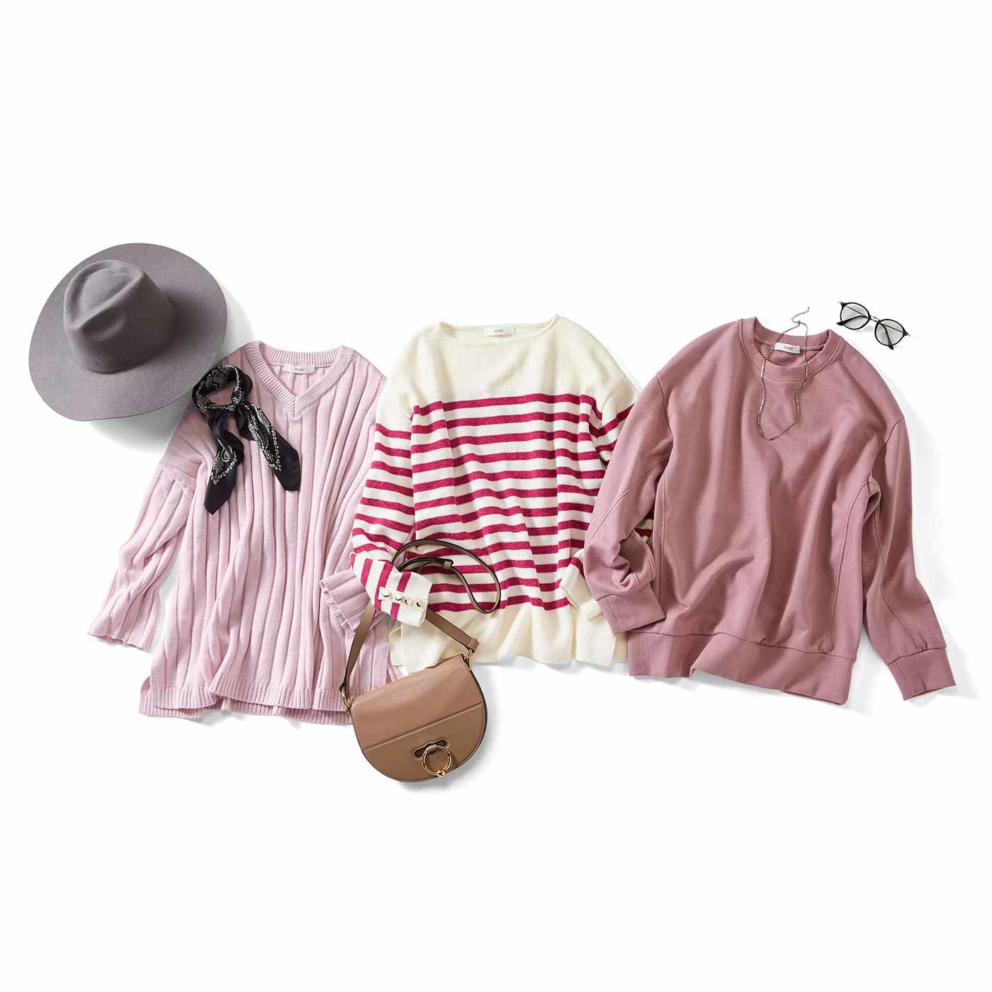 IEDIT[イディット] ピンクをハンサムに着こなす デザイントップスの会