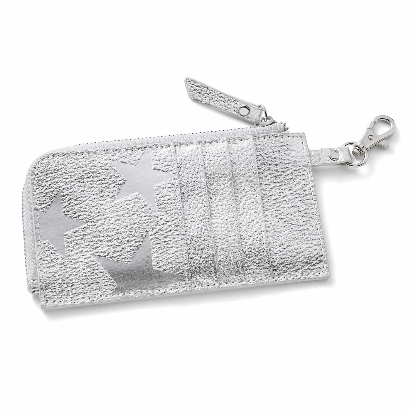IEDIT[イディット] 本革が大人にうれしい スターエンボス加工のスリムミニ財布〈シルバー〉