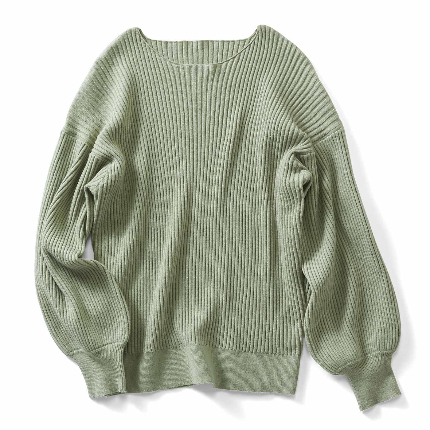 IEDIT[イディット] 帯電防止がうれしい もちとろ素材が心地よい ふんわり袖のフェミニンニット〈ピスタチオグリーン〉