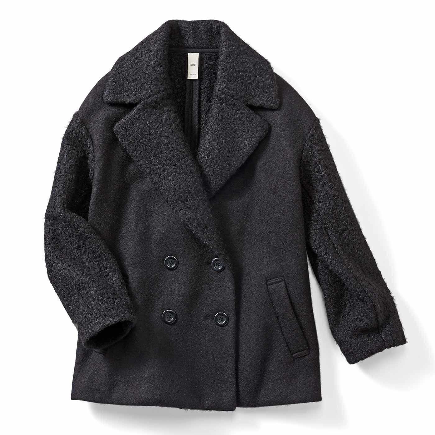 IEDIT[イディット] ジャケット以上コート未満の大きめラペルとオーバーサイズが今気分のジャコット〈ブラック〉