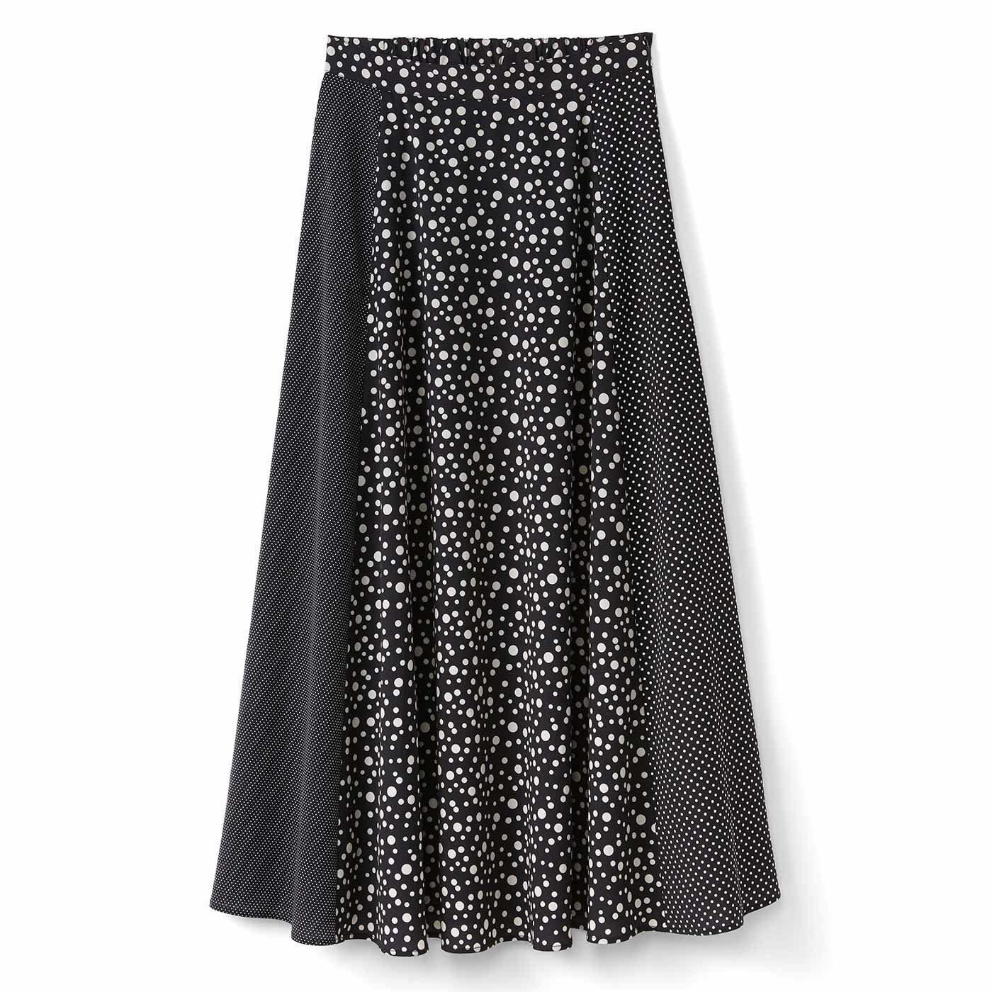 IEDIT[イディット] いろんな大きさのドット柄プリントがおしゃれ気分を盛り上げる フレアーロングスカート〈ブラック〉