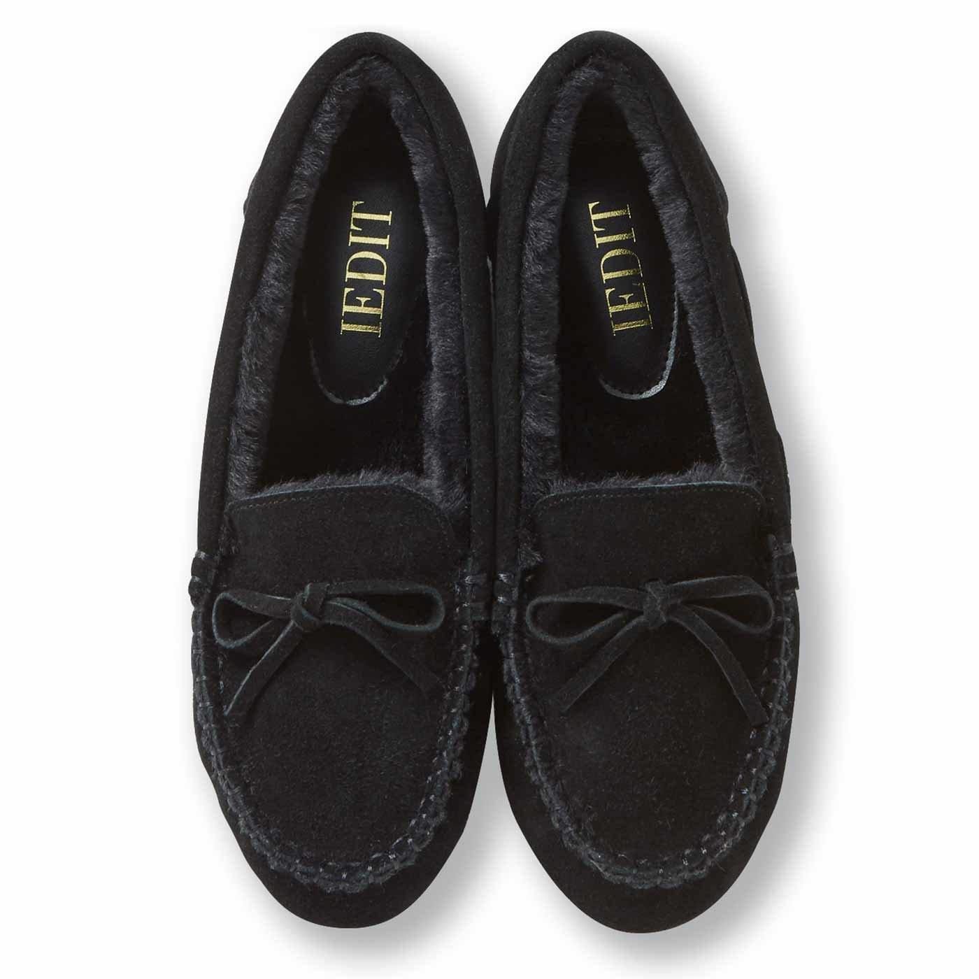 IEDIT[イディット] とっても暖かい履き心地の表側は本革のふわふわモカシン風シューズ〈ブラック〉