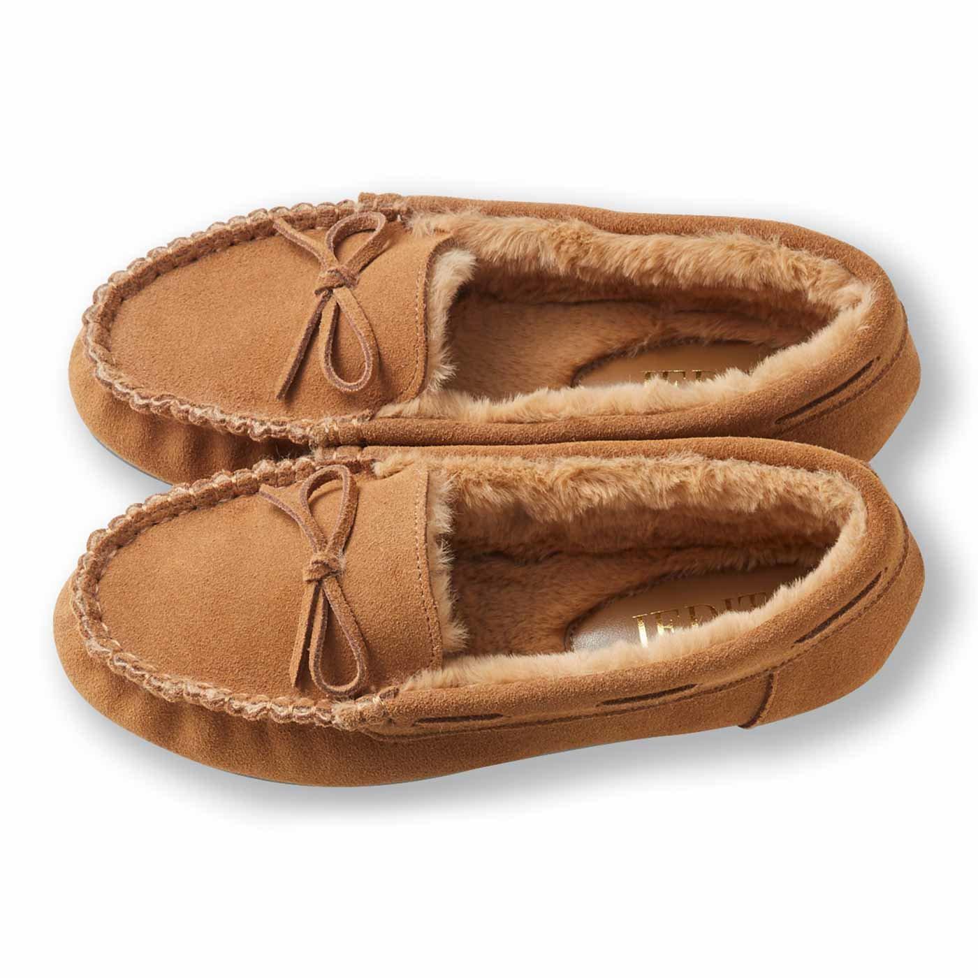 IEDIT[イディット] とっても暖かい履き心地の表側は本革のふわふわモカシン風シューズ〈キャメル〉