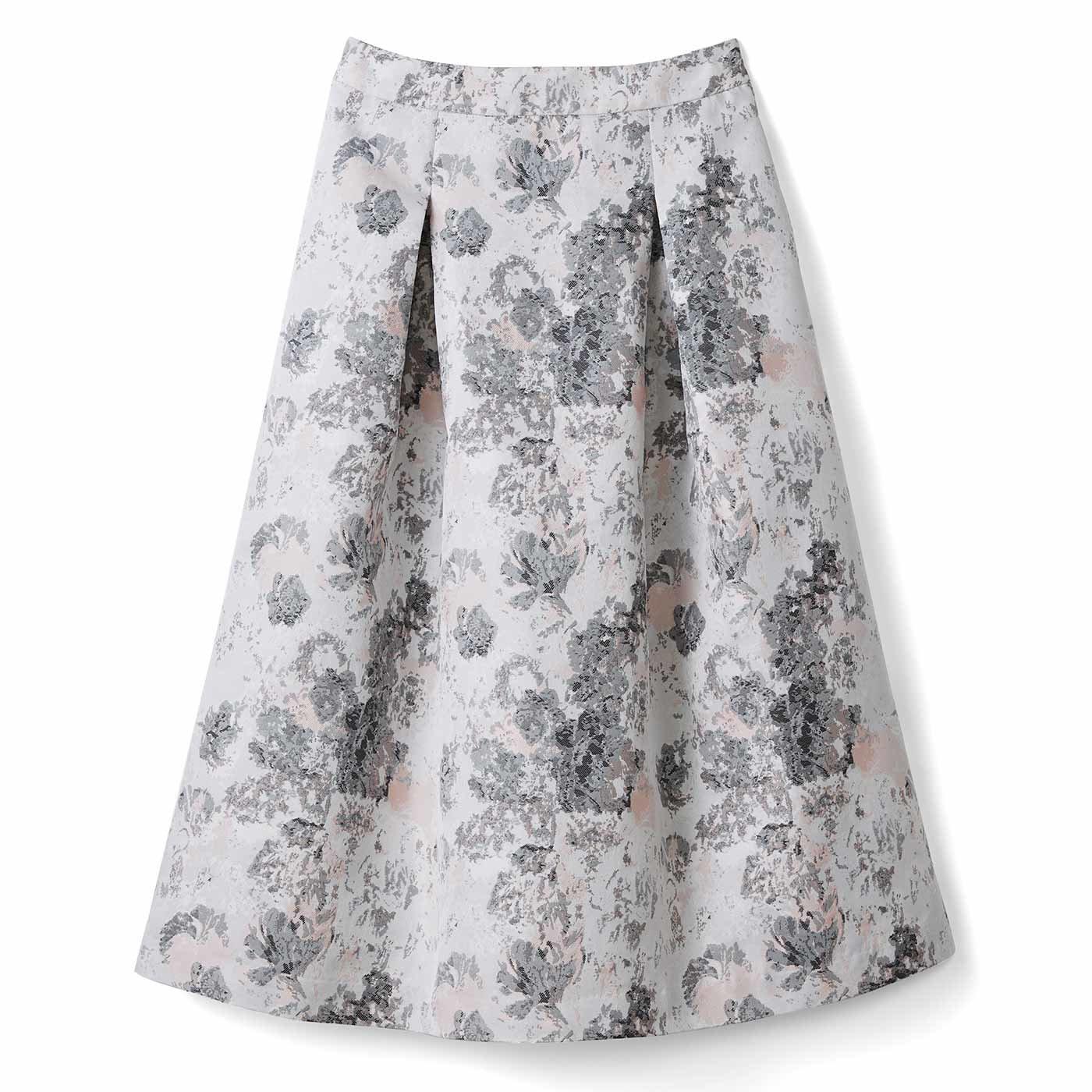 IEDIT[イディット] ふんわりシルエットの華やぎタックジャカードスカート〈アイボリー〉