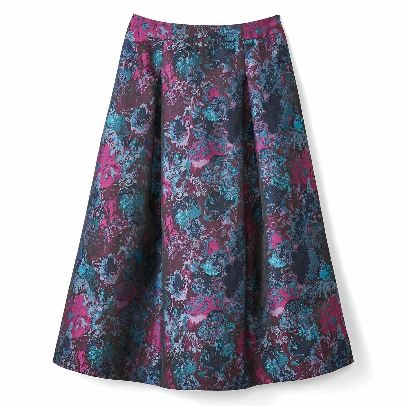 IEDIT[イディット] ふんわりシルエットの華やぎタックジャカードスカート〈ブルー〉