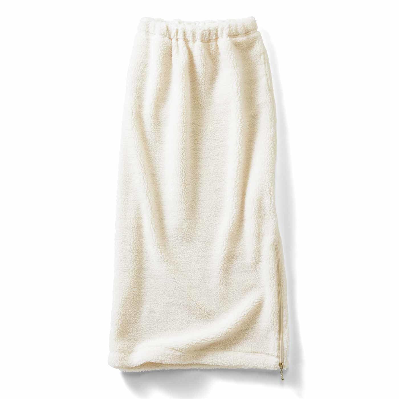 【イラストレーターきくちあつこさんコラボ】IEDIT[イディット] ファスナー遣いのアイラインボアスカート〈アイボリー〉