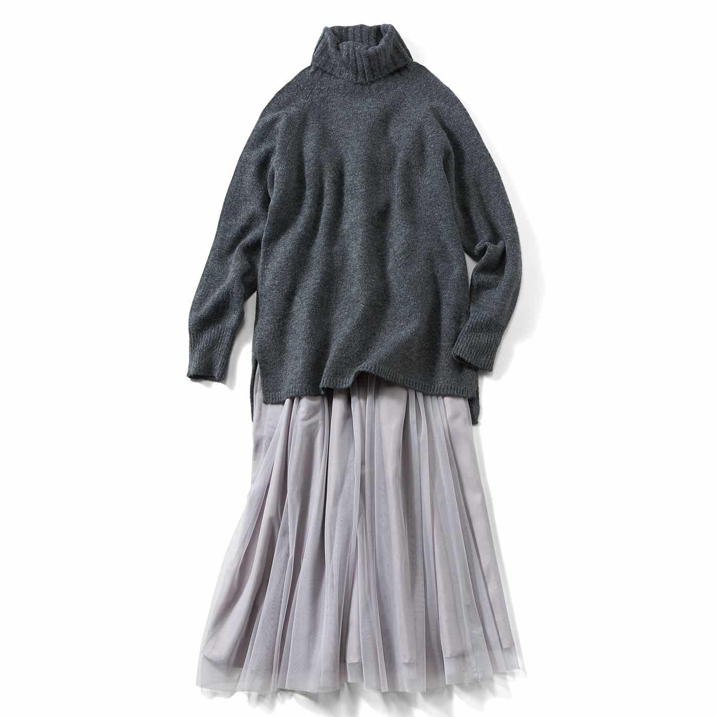 IEDIT[イディット] タートルニットとチュールスカートの華やかこなれコーディネイトセット〈グレー〉