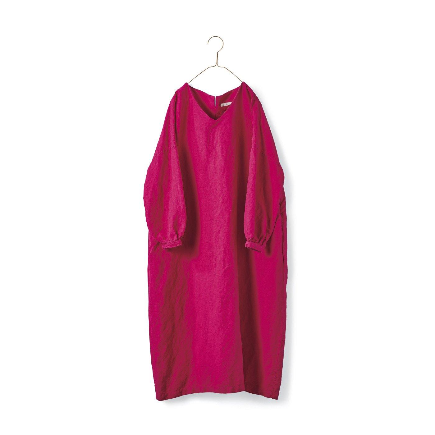 サニークラウズ Vネックのサックドレス〈レディース〉ピンク