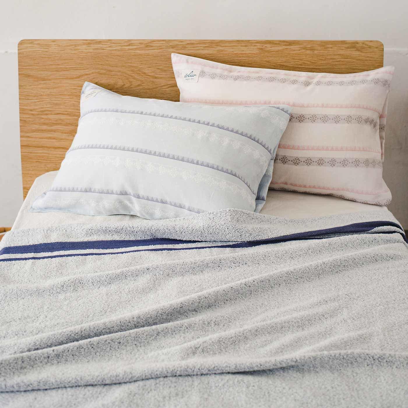 イトリエ 綿100%ダブルガーゼのジャカード織り枕カバー