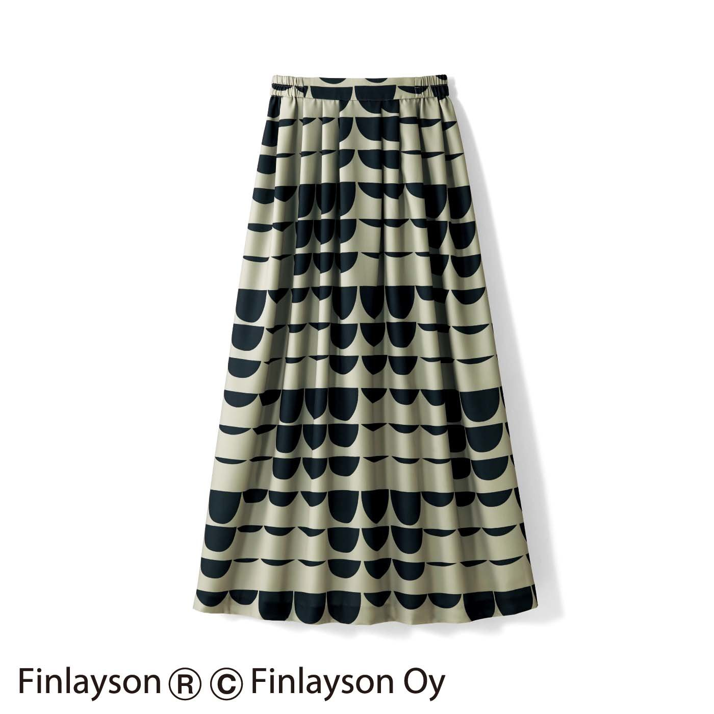 IEDIT[イディット] ×フィンレイソン シックカラーのしなやかロングスカート カーキ〈PAJATSO〉
