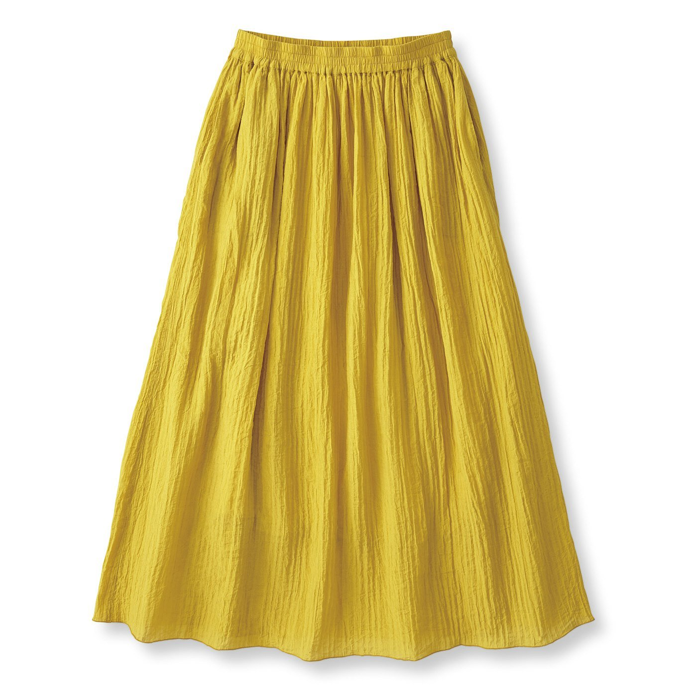 フラウグラット さらり華やか涼しい 大人の楊柳(ようりゅう)ロングスカート〈マスタード〉