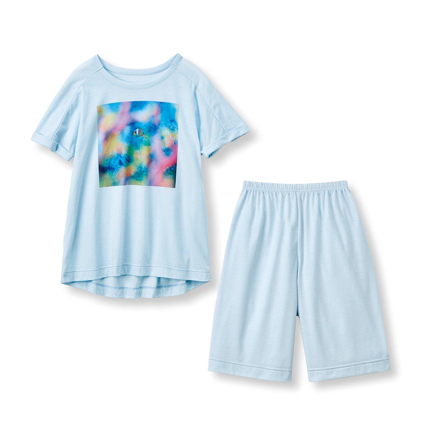 frauglatt×海とかもめ部 さらり快適海中の世界をまとう しあわせTシャツ&ショートパンツセット〈オーシャンブルー〉