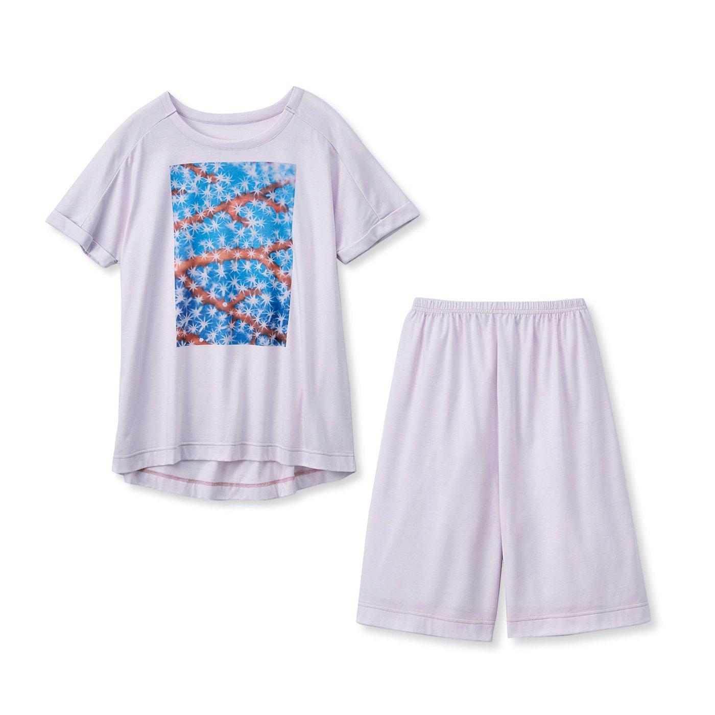 frauglatt×海とかもめ部 さらり快適海中の世界をまとう しあわせTシャツ&ショートパンツセット〈サンゴピンク〉
