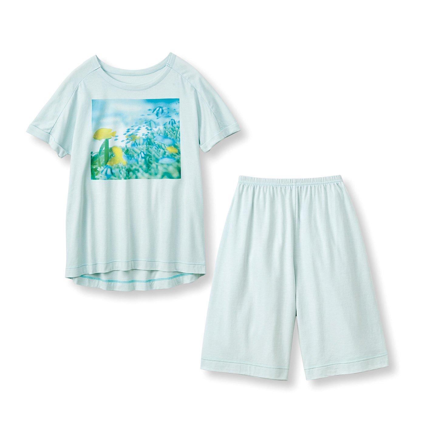 frauglatt×海とかもめ部 さらり快適海中の世界をまとう しあわせTシャツ&ショートパンツセット〈アクアグリーン〉