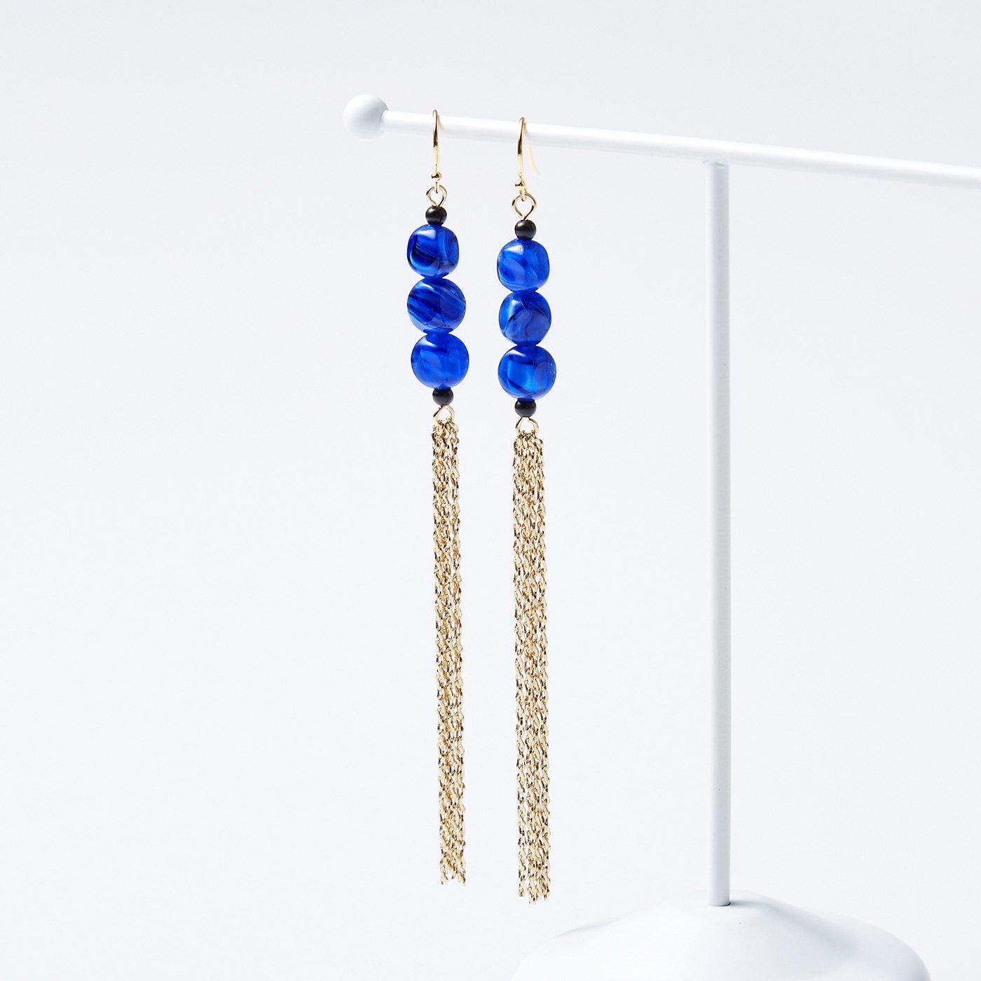 OSYAIRO 手巻きガラスイヤアクセサリー〈ブルー〉