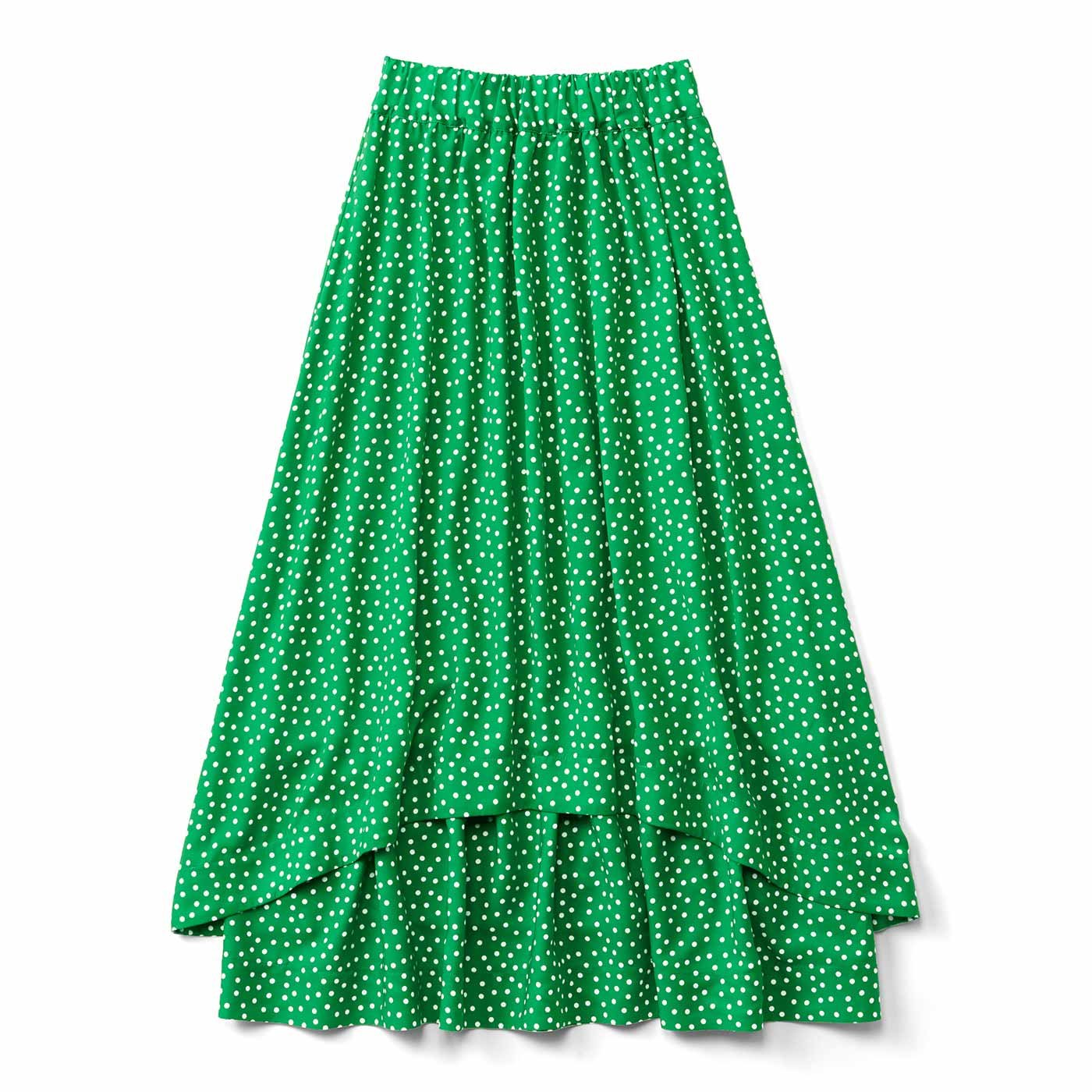 ボリュームとすそラインがロマンティックな水玉スカート〈グリーン〉