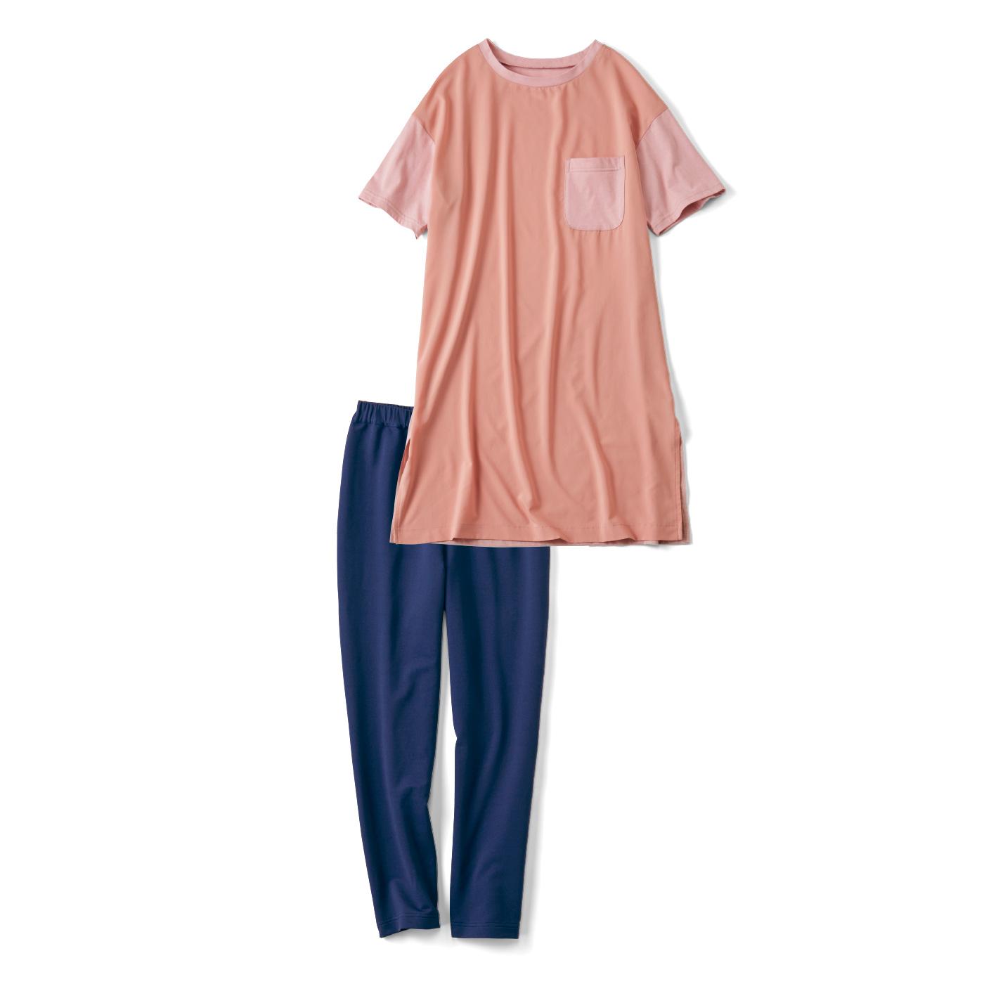 簡単! 今風シルエットのTシャツワンピ+レギンスセット〈ピンク×ネイビー〉