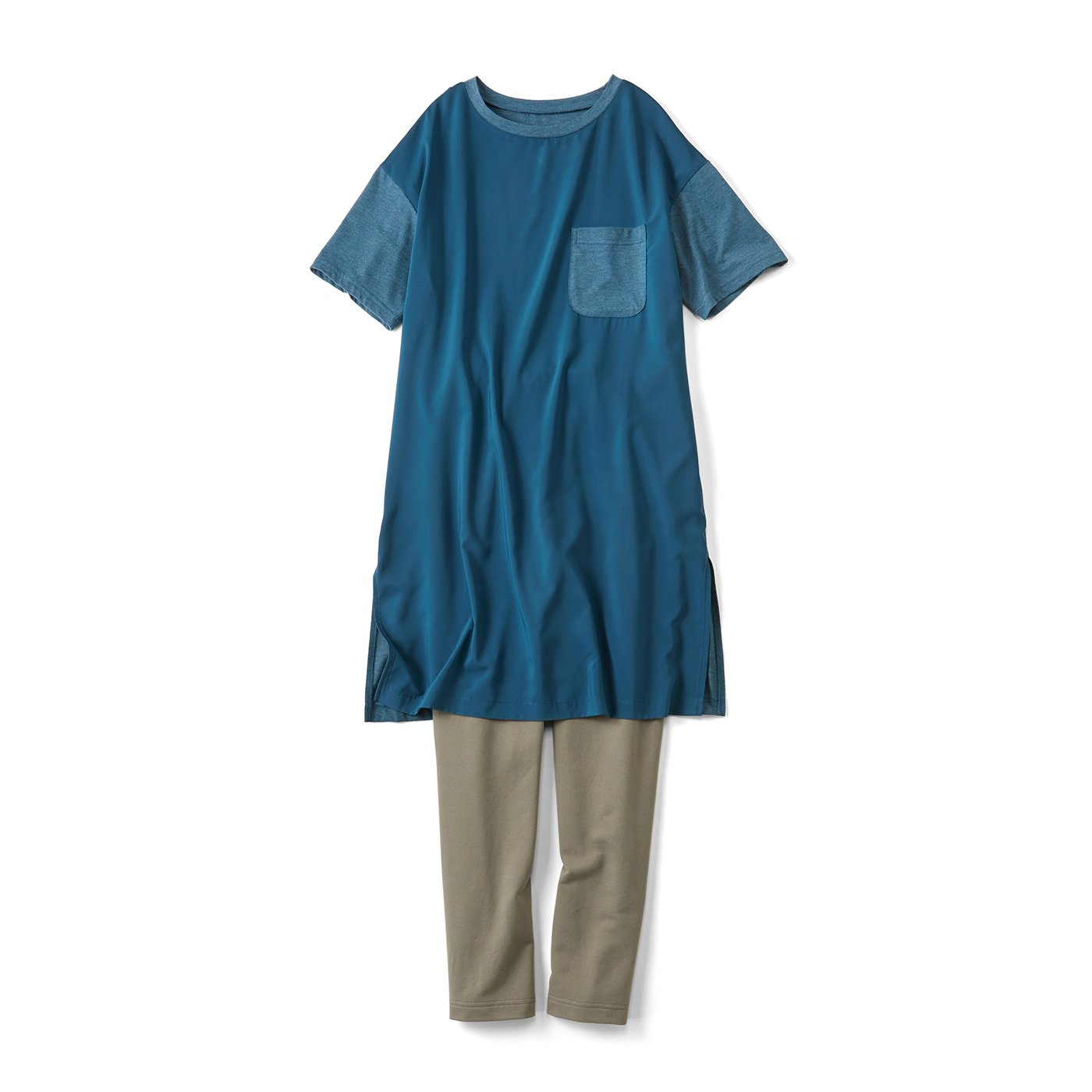 簡単! 今風シルエットのTシャツワンピ+レギンスセット〈ブルー×オリーブ〉