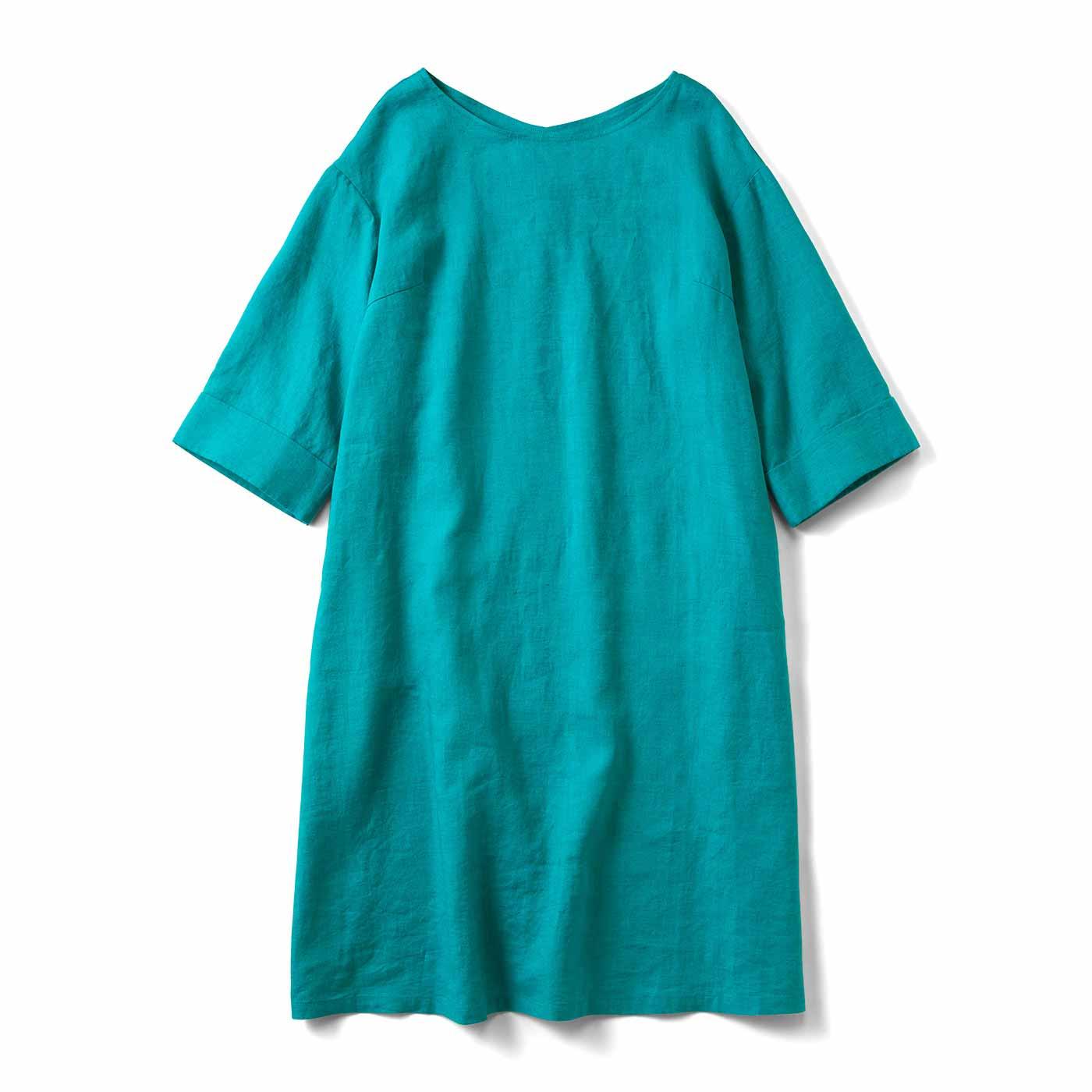 すぽっとかわいい 七分袖の麻混ワンピース〈浅葱〉
