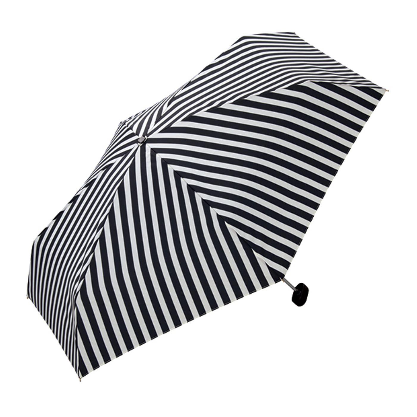 フェリシモ クラッチ風ケースでサッと収納 コンパクトな折りたたみ傘〈ストライプ〉