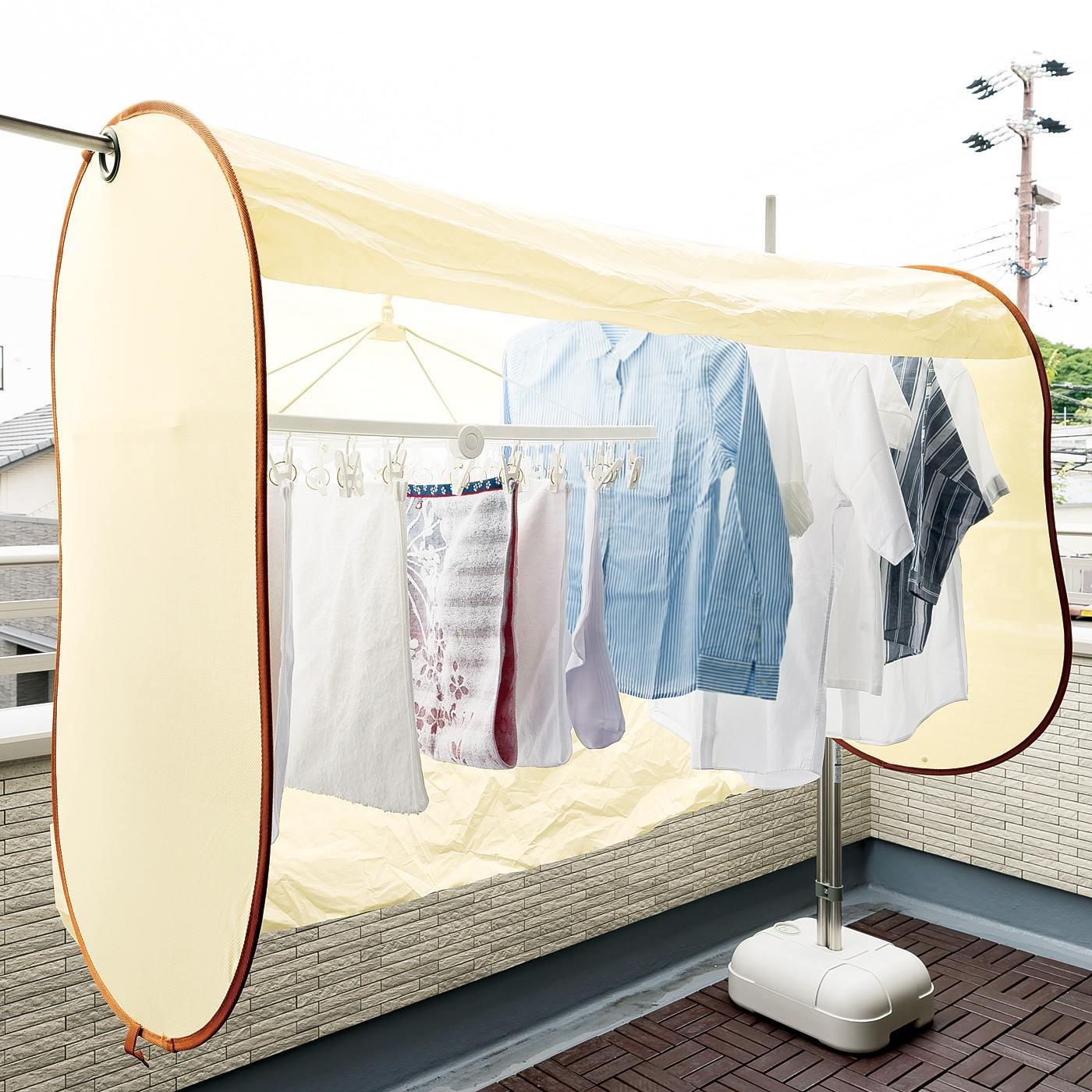 急に降り出す雨から守る たっぷり干せる洗濯物カバー