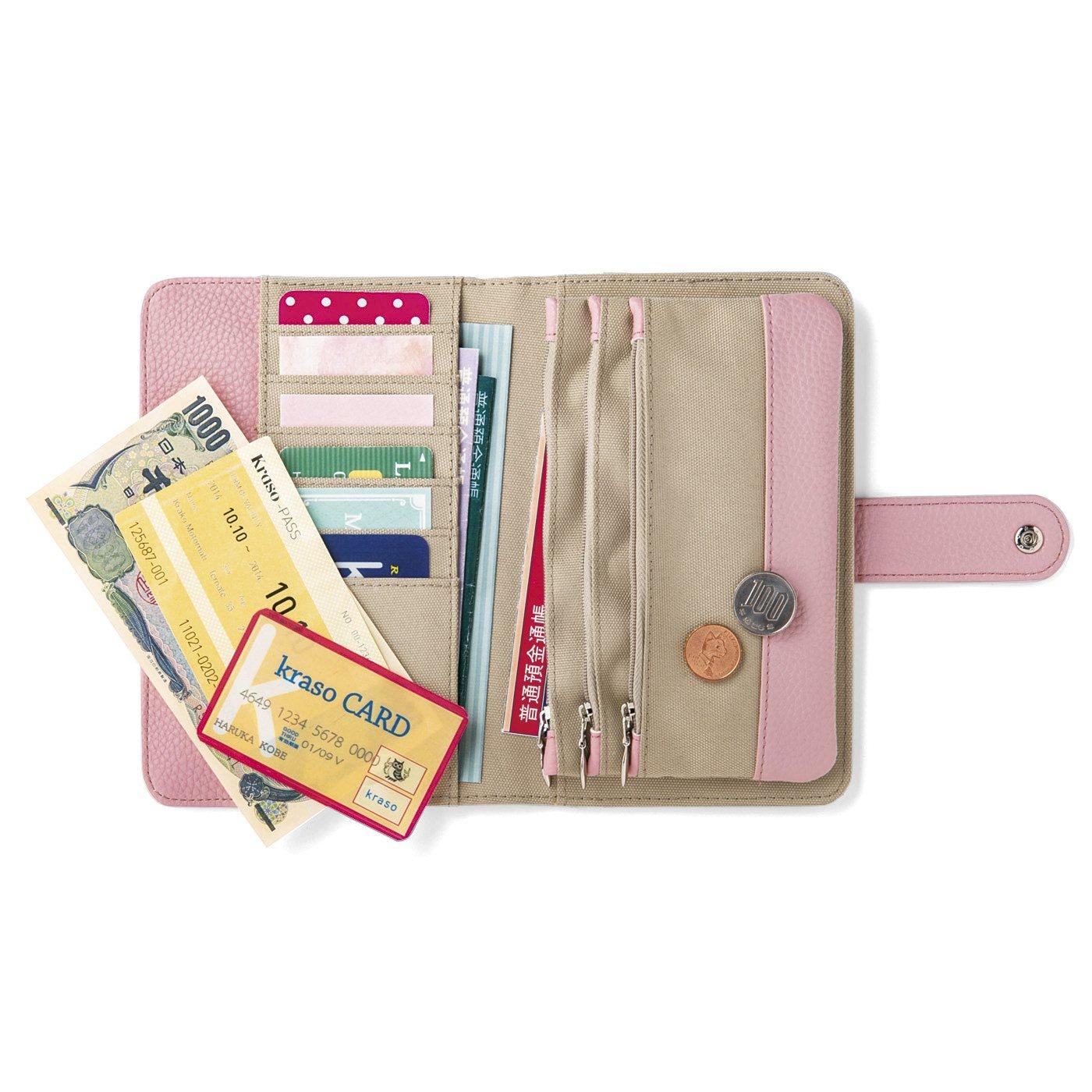 充実ポケットで整とん美人 ハッピーピンクの手帳型ポーチ