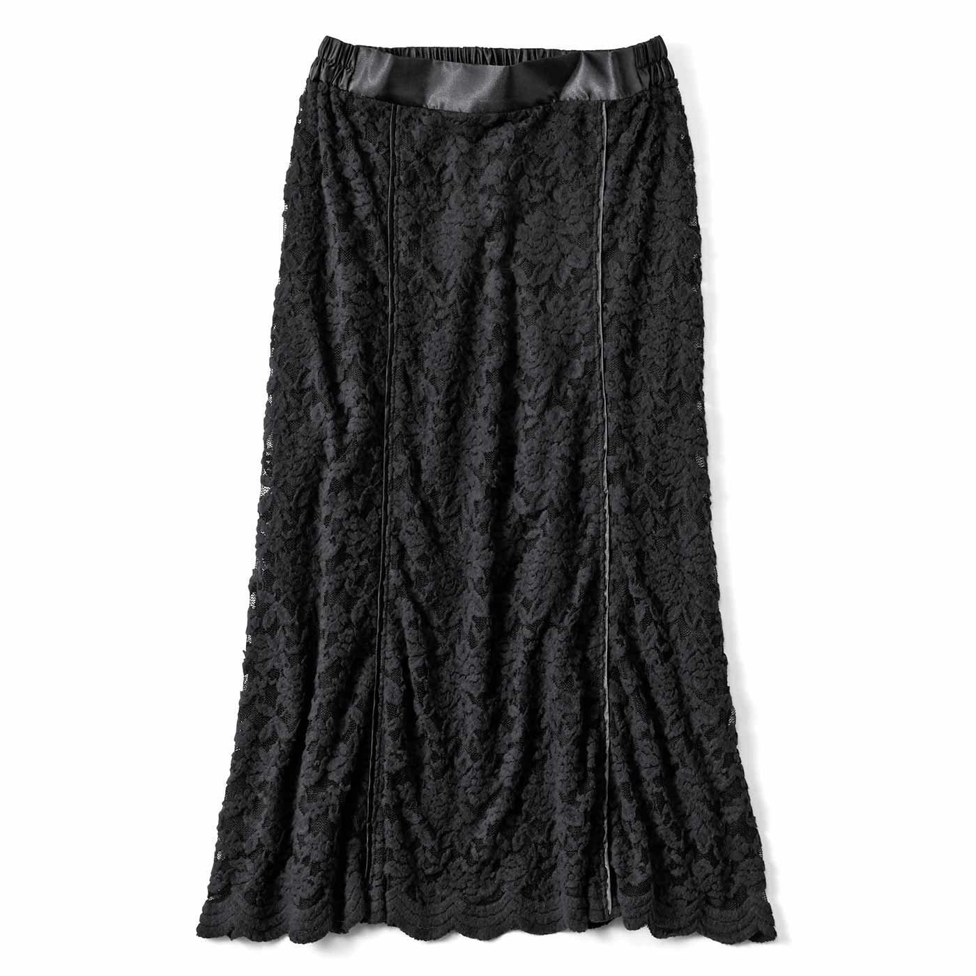 【3~10日でお届け】IEDIT[イディット] 帯電防止インナーがうれしい 起毛レーススカート〈ブラック〉