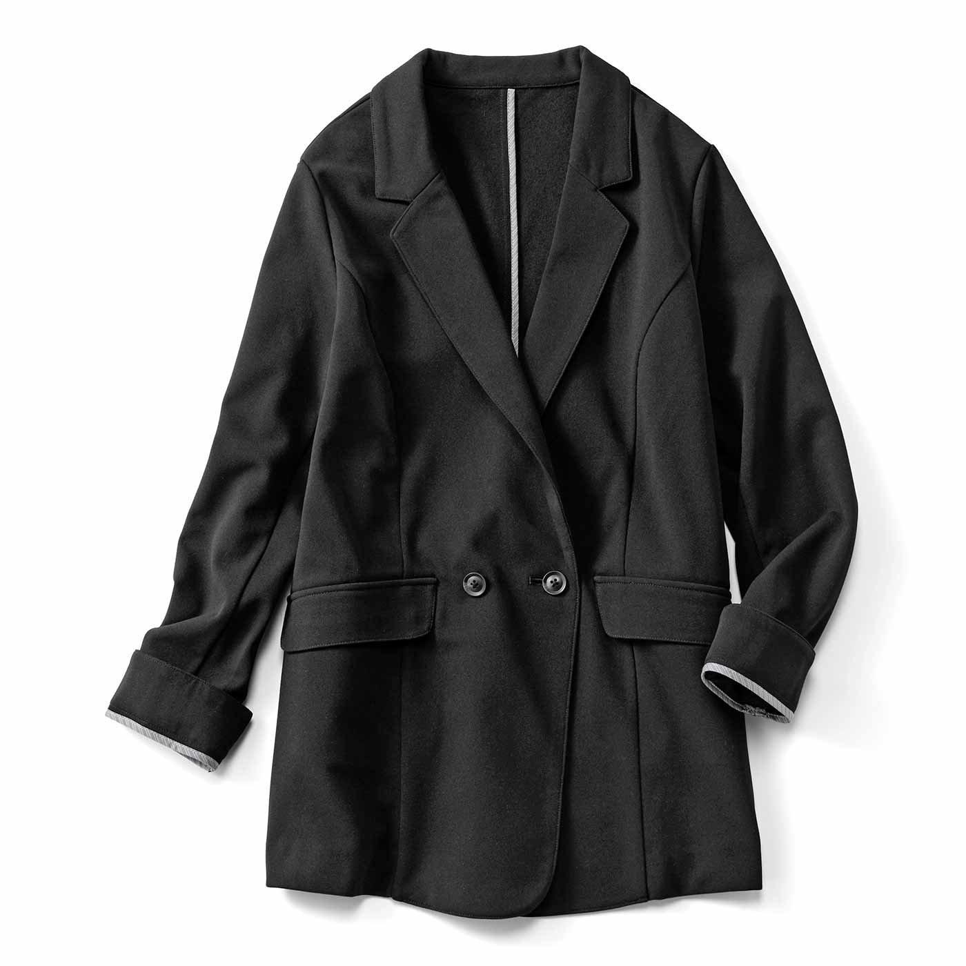 【3~10日でお届け】IEDIT[イディット] 帯電防止加工のあったか裏起毛 ジョーゼットが上品きれいなバレエフィット(R)ジャケット〈ブラック〉