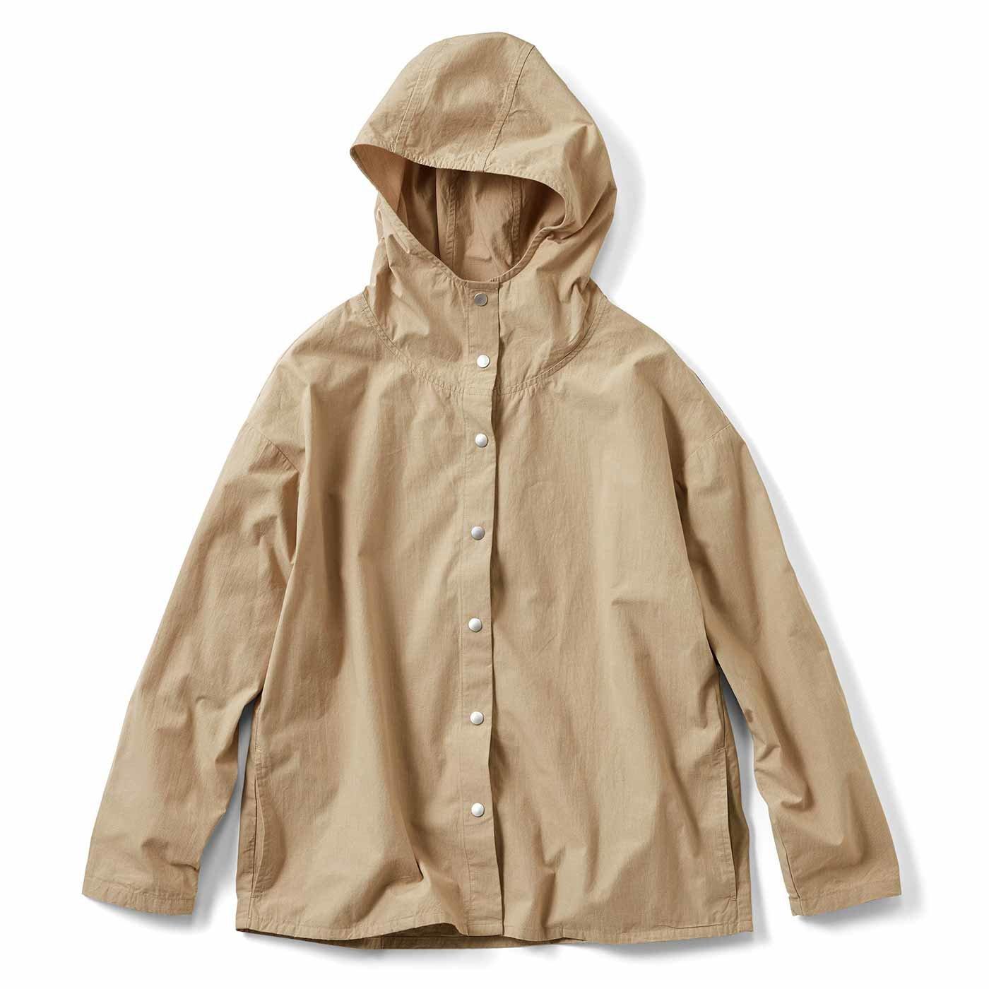 みじんこチェックのフーデッドシャツジャケット〈ベージュ〉